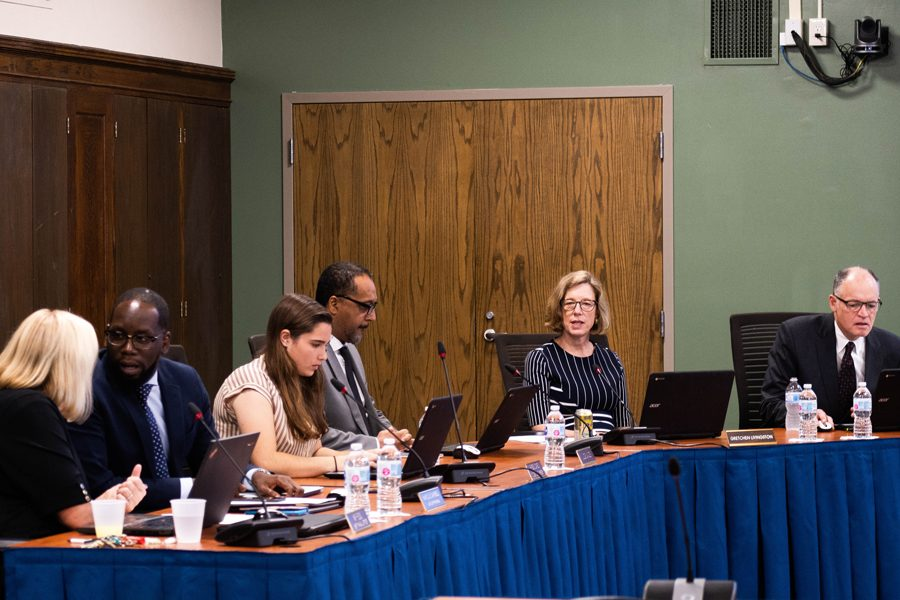 Evanston+Township+High+School%2FDistrict+202+board+members+listen+to+reports+during+a+Monday+meeting.+The+figures+presented+showed+that+racial+disparities+still+exists+in+summer+school+attendance%2C+student+activities+and+disciplinary+action+%E2%80%94+although+the+latter+has+improved+drastically.++