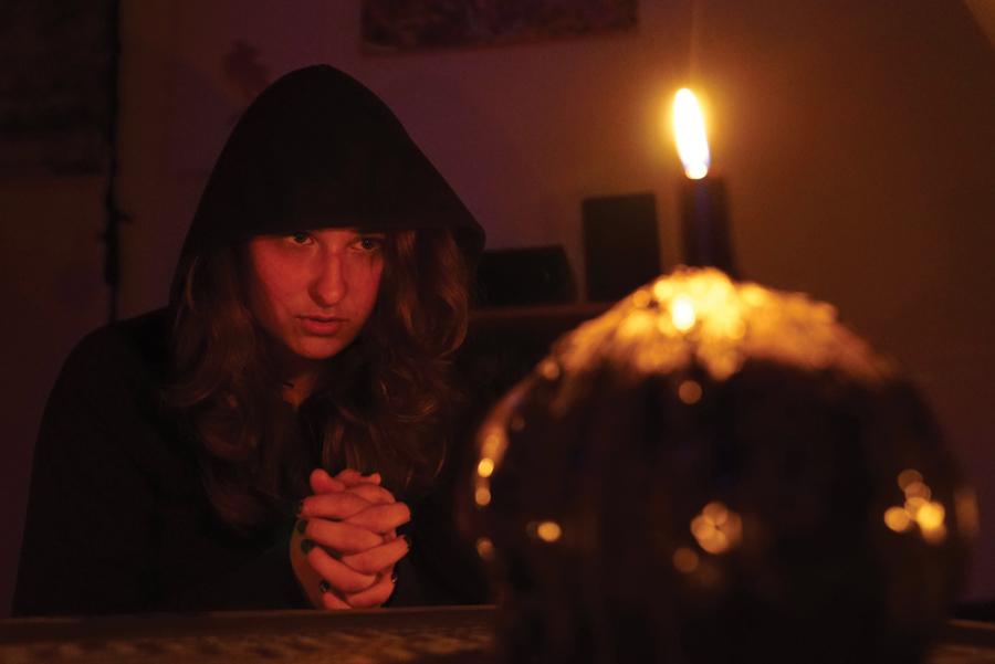 "Savanna Rae, who plays the lead in the web series ""Dear Dark Lord,"" talks to the ""dark lord."" The series was created by Northwestern MFA student Pat Cavanaugh."