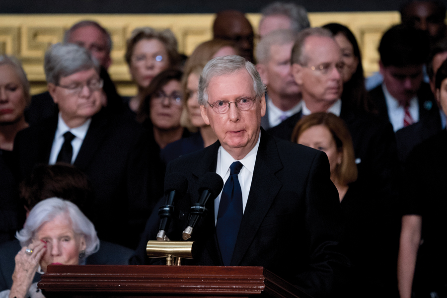 Senate Majority Leader Mitch McConnell (R-Ky.) speaks at the U.S. Capitol in Washington, D.C., on August 31, 2018. McConnell blamed the deficit on failure to contain spending on entitlements like Medicare, though he predicted a solution to reducing the gap wouldn't come soon.