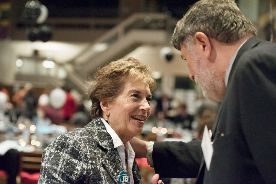 "U.S. Representative Jan Schakowsky chats with Cook County Commissioner Larry Suffredin during the Democratic Party of Evanston's annual dinner. Schakowsky presented the Yellow Dog Award to Jesus ""Chuy"" Garcia."