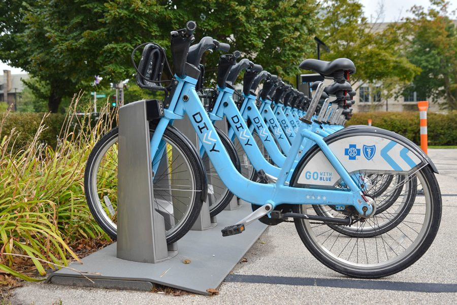 Divvy bikes in Evanston. City Council recently barely passed a measure approving the purchase of three new Divvy bike stations.