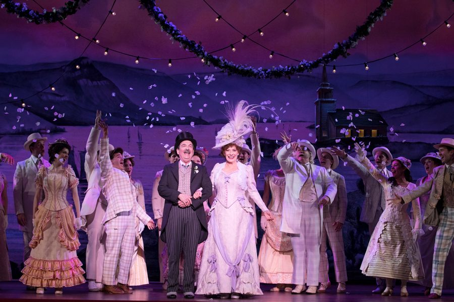 """Betty Buckley and company take their bows in the national tour of """"Hello, Dolly!"""" Beth Kirkpatrick (Bienen '03) plays the role of Mrs. Rose and other ensemble members, as well as performing as an understudy for the iconic role of Dolly Levi."""
