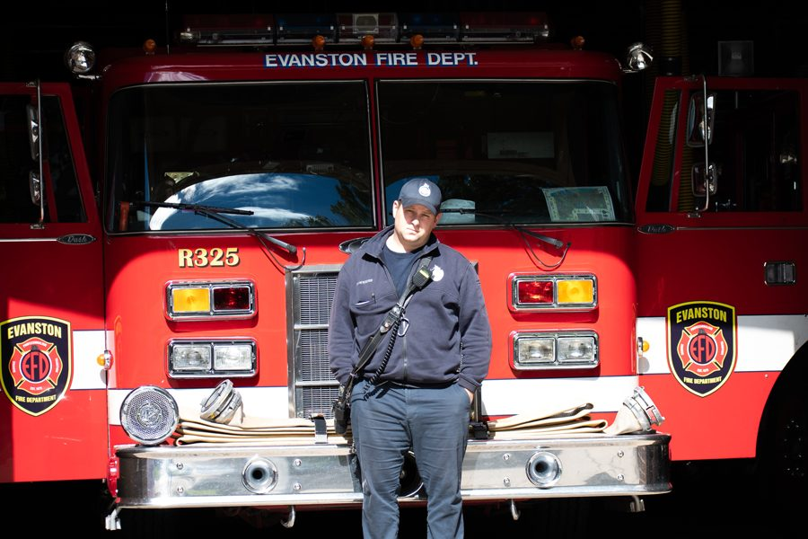 A+firefighter%2Fparamedic+stands+in+front+of+Station+4%E2%80%99s+fire+engine.+City+manager+Wally+Bobkiewicz+said+if+the+proposed+budget+is+approved%2C+Station+4+will+be+shut+down+and+the+building+will+be+sold.+
