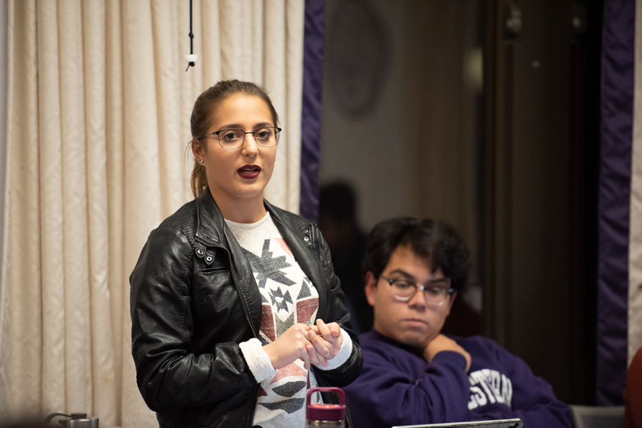 Isabel Dobbel, ASG vice president for A-Status finances, at an ASG meeting last Wednesday. The group said on Sunday it will provide emergency funding to student groups whose funding was cut from schools and departments that were forced to slash their budgets this year.