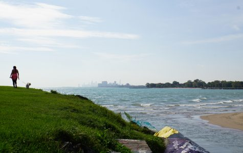 Northwestern's Lakefill overlooking downtown Chicago.