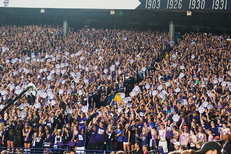 Students pack Ryan Field for Northwestern's primetime game against Ohio State in October 2013.