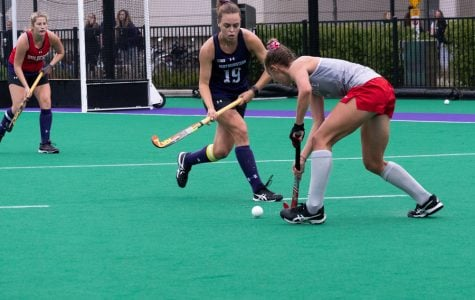 Puck Pentenga closes down on a opponent. The senior midfielder scored two goals and had two assists against Ball State.