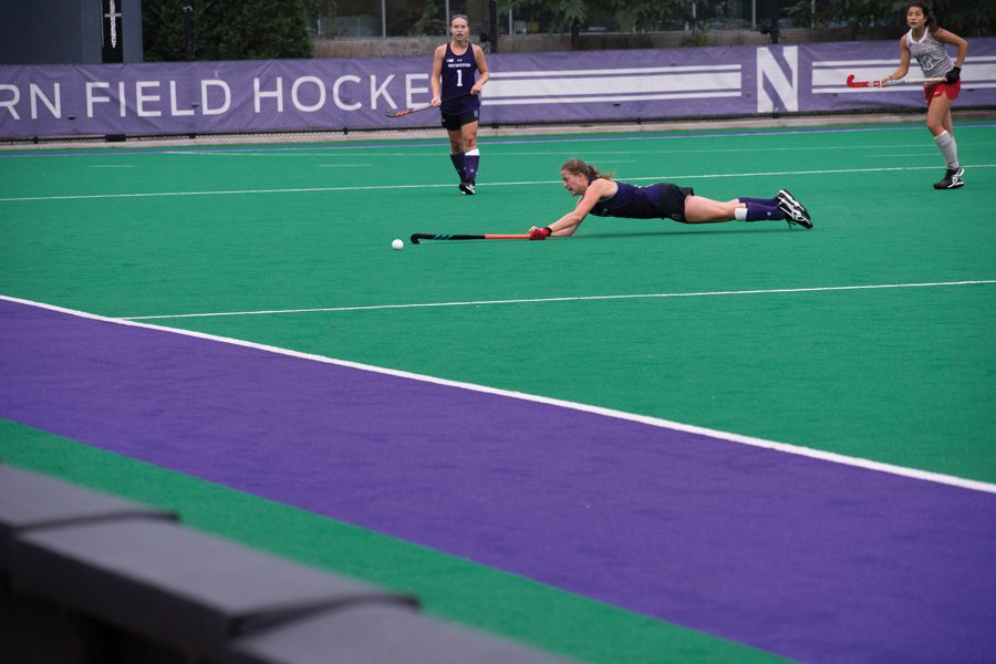 Maren Seidel dives to reach the ball. The freshman forward played 58 minutes against Ohio State.