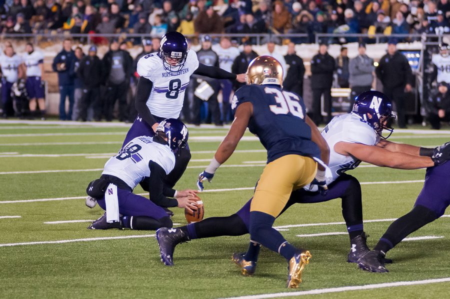 Northwestern kicker Jack Mitchell strides forward for the game-tying field goal in the Wildcats' 2014 win over Notre Dame.
