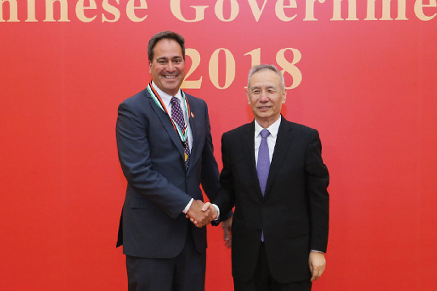 Northwestern professor Chad Mirkin receives Friendship Award from Chinese Vice Premier Liu He. Mirkin was recognized for his contributions to China's economic and social progress.