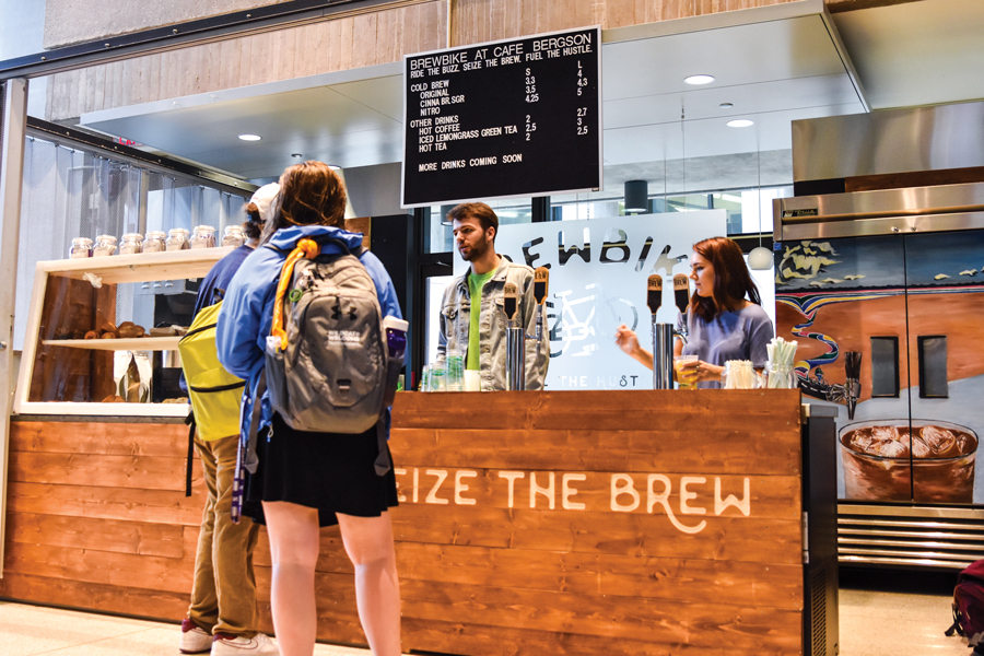 BrewBike's new location in Café Bergson. BrewBike is now a subcontractor of Compass Group, and plans to expand to other college campuses.