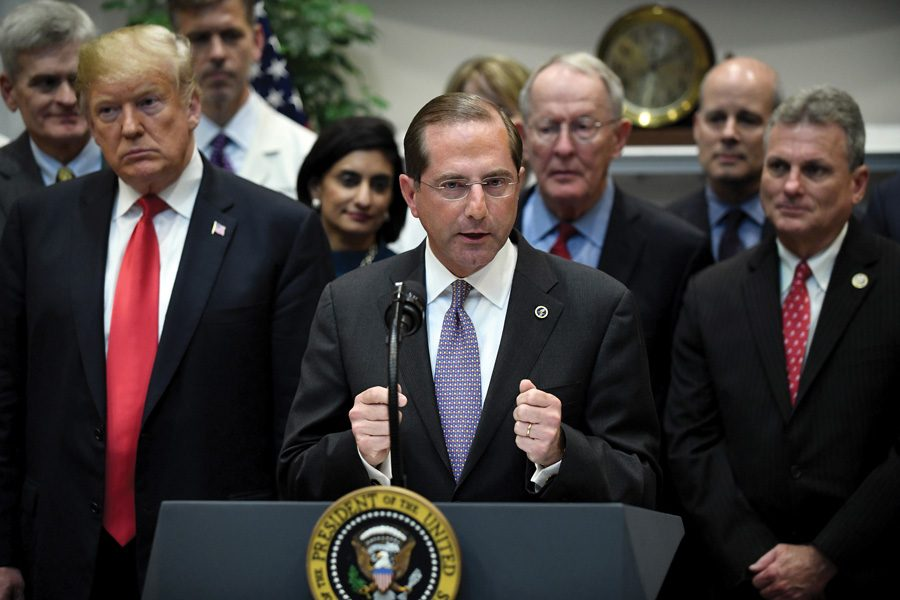 U.S. Health and Human Services Secretary Alex Azar speaks during a signing ceremony this month in the Roosevelt Room of the White House. HHS is attempting to redefine gender as a condition determined by physical sex at birth, according to a report in The New York Times.
