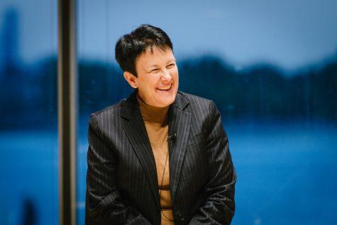 Award-winning composer Jennifer Higdon speaks to students as part of week-long residency