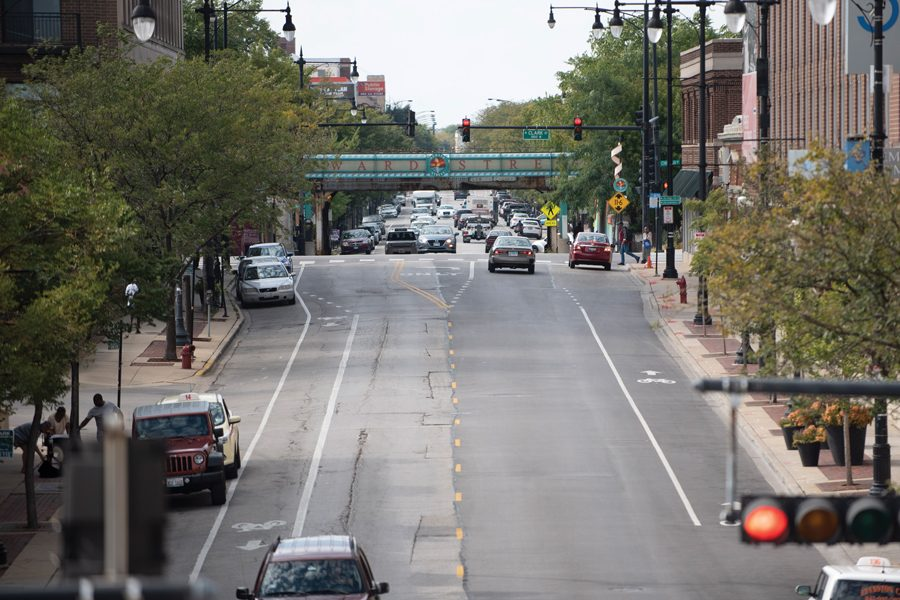 Howard Street in Evanston. The area has recently experienced economic revitalizations as new businesses have popped up along the street.