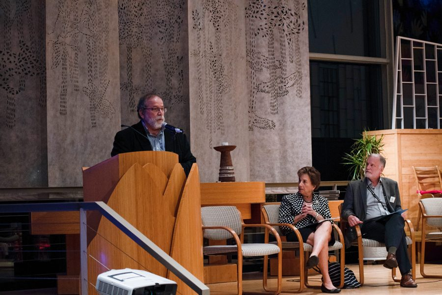 U.S. Rep. Jan Schakowsky and Loyola University professor John Frendreis. The two spoke about climate change at a town hall at the Unitarian Church of Evanston.