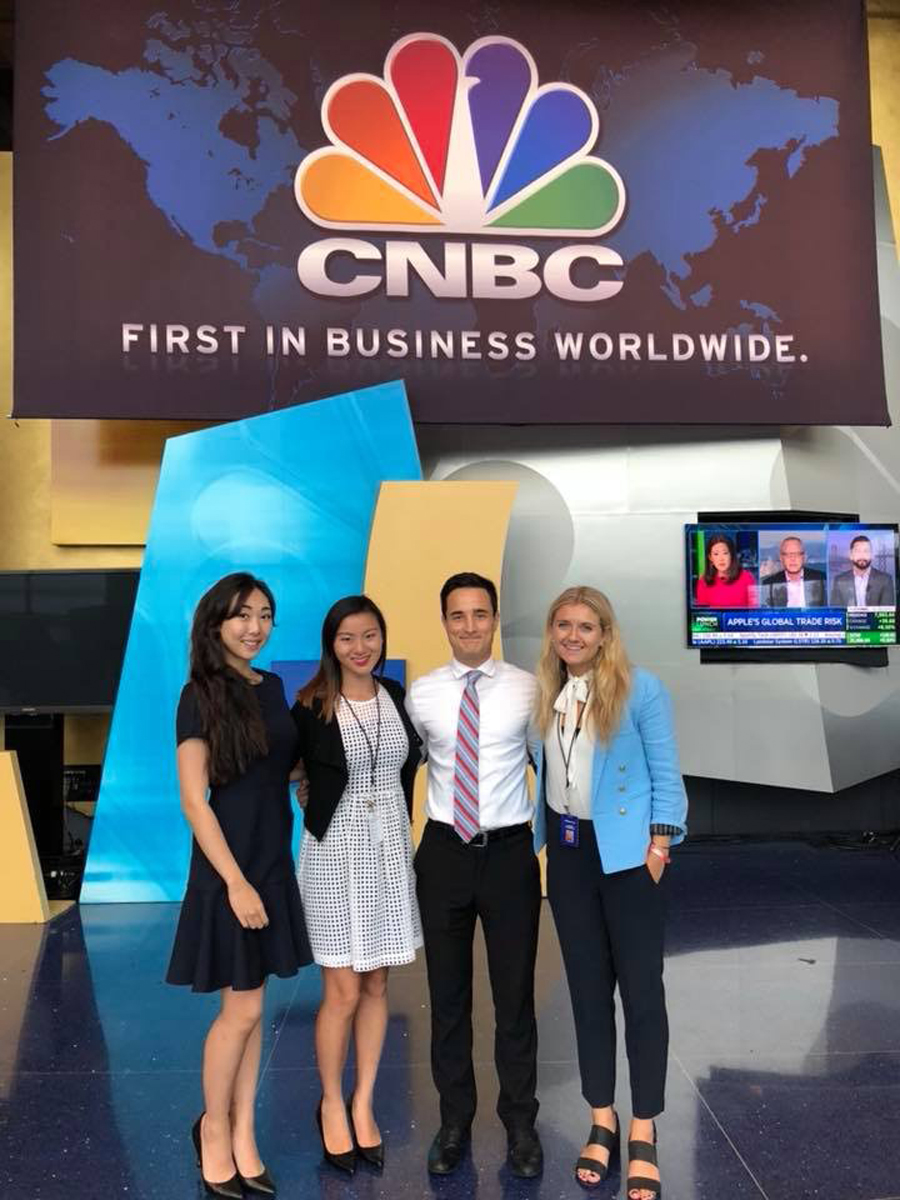 """David Gernon, middle right, at CNBC. The Northwestern alum works on segments such as """"Power Lunch,"""" which provides viewers with a brief overview on the financial market, real estate, media and technology."""