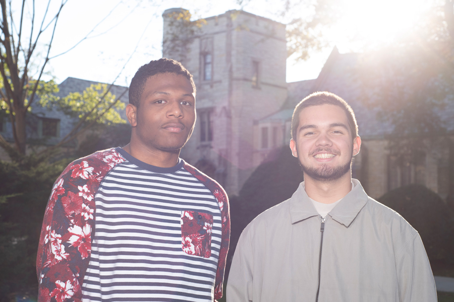 "Medill freshman Taj Smith (left) and Weinberg freshman AJ Denhoff, the creators of the track ""Josh McKenzie."" Since its release on Smith's Soundcloud, the song has been played over 1,500 times."