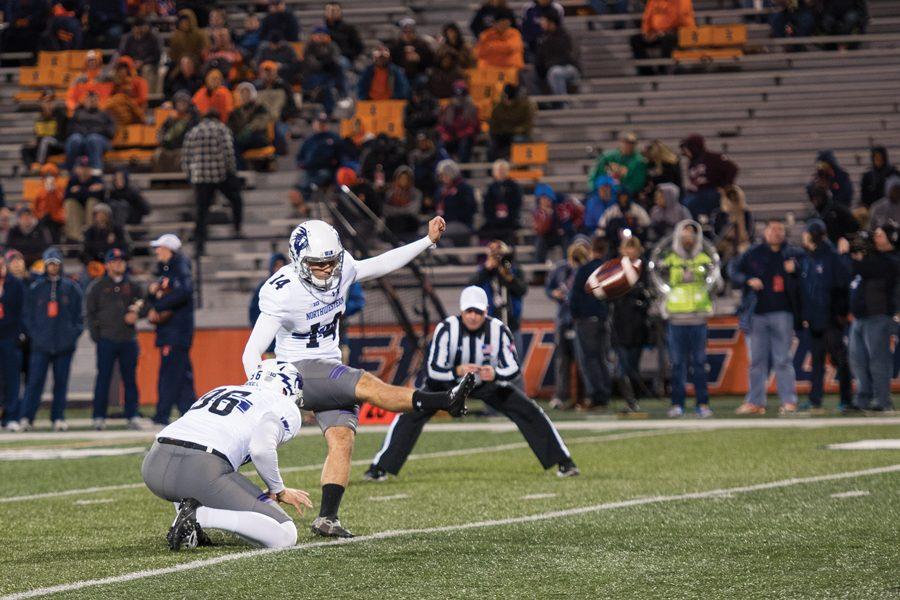 Charlie Kuhbander kicks a field goal. The sophomore kicker has battled an injury this season.