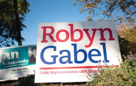 A campaign sign for state Rep. Robyn Gabel (D-Evanston). Gabel was endorsed by both the Chicago Tribune and Chicago Sun-Times.