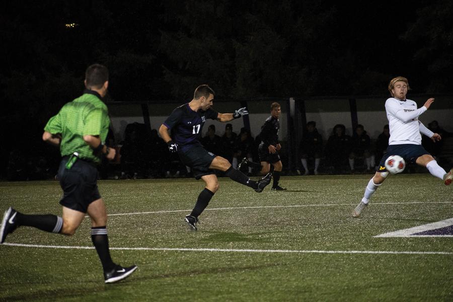 Mattias Tomasino kicks the ball. The junior midfielder has started every game this year.