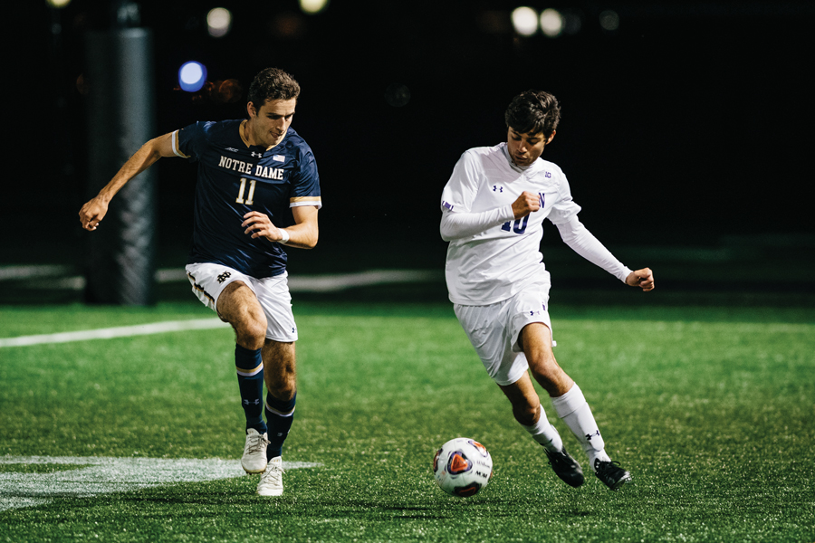 Tommy Katsiyiannis fights for loose ball. The sophomore midfielder played 76 minutes against Notre Dame.