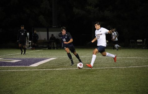 Connor McCabe closes down on an opponent. The freshman midfielder has six shots this season.