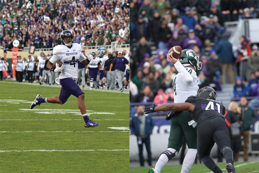 Left: Solomon Vault returns a kickoff for a touchdown in Northwestern's 2016 win over Michigan State. Right: Safety Jared McGee hits Spartans quarterback Brian Lewerke in Northwestern's 2017 win.
