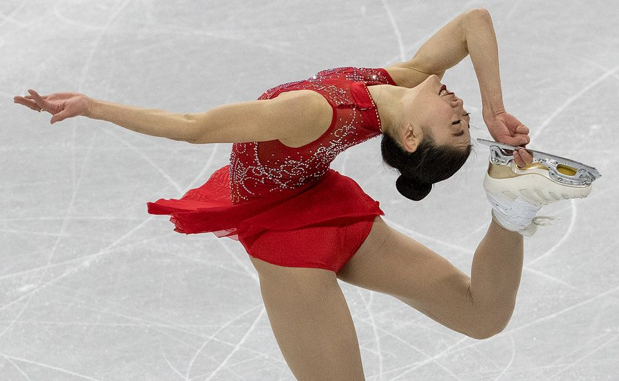 Mirai Nagasu skates at the 2018 Winter Olympics in Pyeongchang, South Korea. Nagasu became the first American woman to land a triple axel at the Olympics.