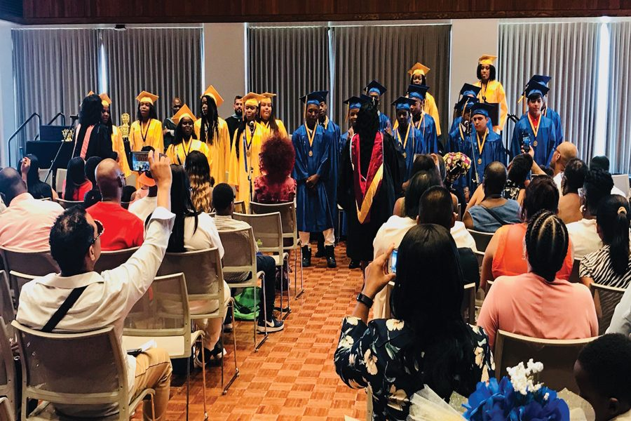 A+group+of+eighth+graders+from+Gale+Community+Academy+graduate+at+Norris.+Through+Neighbor2Neighbor%2C+Northwestern+partners+with+Gale+Community+Academy+and+other+nonprofit+organizations+in+Rogers+Park.+