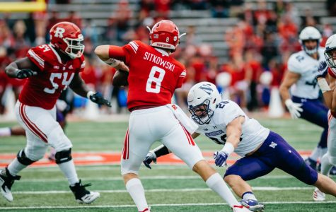 Chris Bergin closes in on a sack. The Wildcats struggled but managed to defeat Rutgers on Saturday.