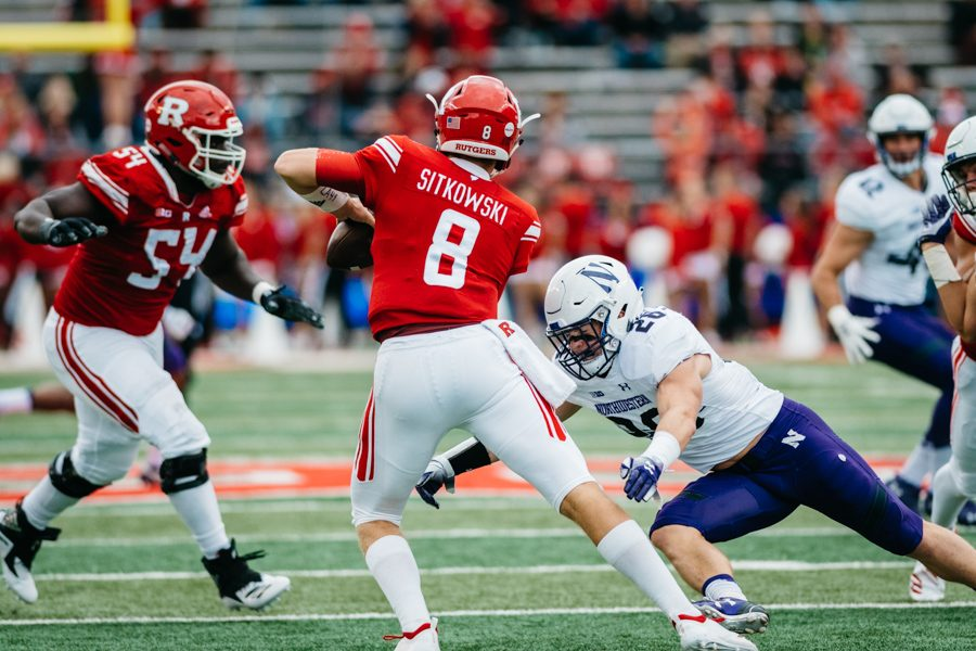 Chris+Bergin+closes+in+on+a+sack.+The+Wildcats+struggled+but+managed+to+defeat+Rutgers+on+Saturday.