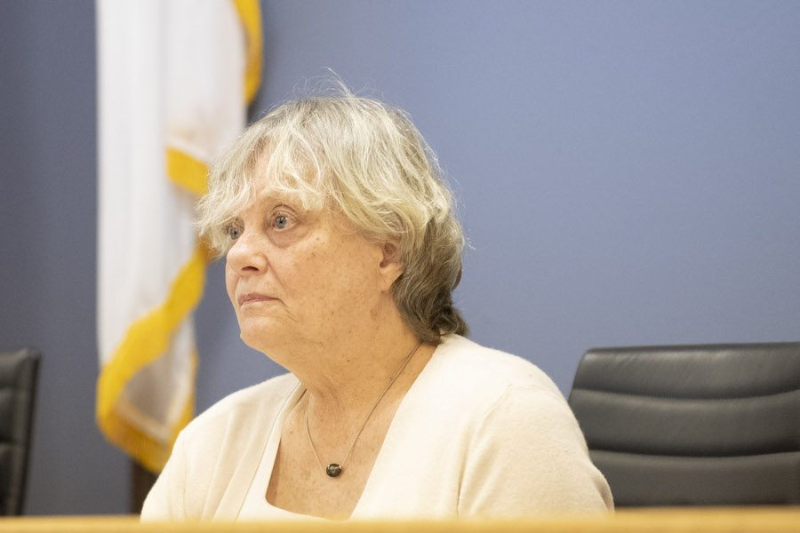 Ald. Judy Fiske (1st) at a city meeting. Fiske raised concerns about students riding bikes, skateboards and scooters on sidewalks in downtown Evanston.