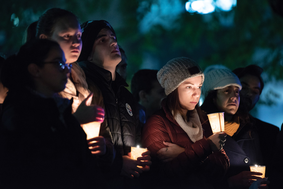 Students and residents gather at The Rock. Hundreds of students with different religious faiths came together the mourn the loss of 11 lives in the Pittsburgh synagogue shooting.