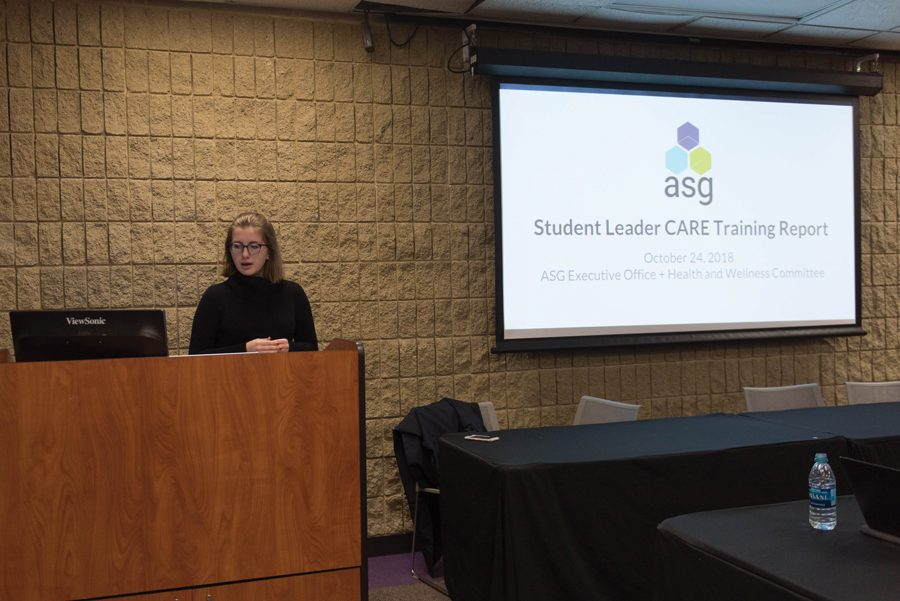 Emily Ash presents a powerpoint about CARE training on sexual violence. Leaders of ASG-funded student groups completed a CARE training in the spring.