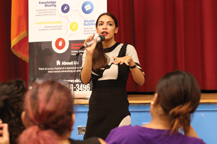 Alexandria Ocasio-Cortez takes questions from constituents. Ocasio-Cortez , and beat incumbent Joe Crowley in the primaries and is one of many women running for office this election season.