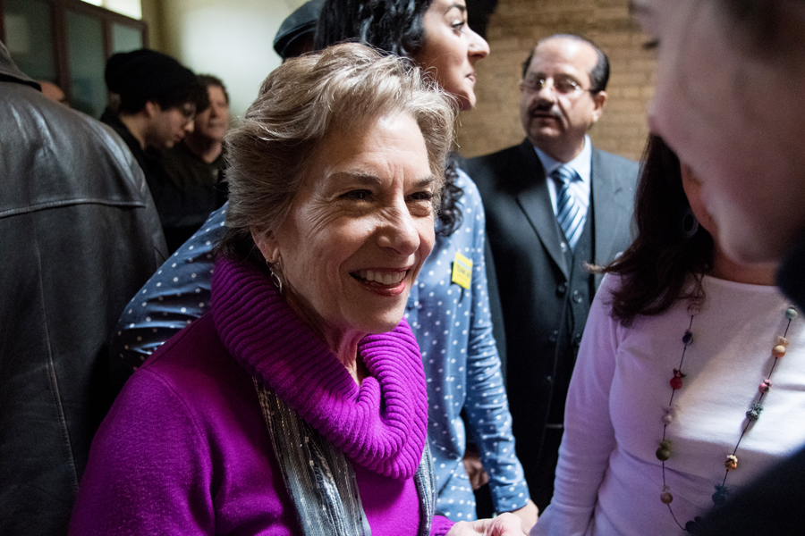 U.S. Rep. Jan Schakowsky (D-Ill.) greets a constituent. Election forecast websites predicted Schakowsky will successfully defend her seat in November.