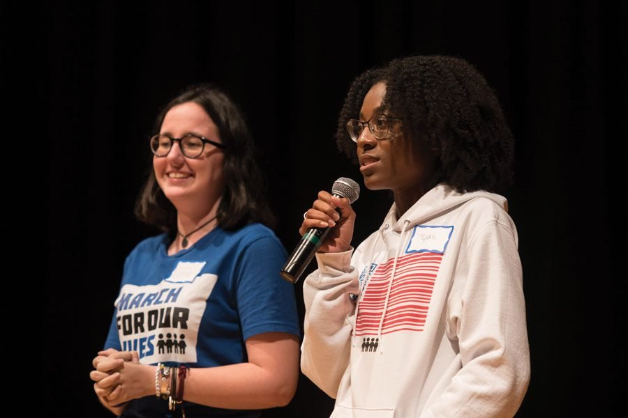 Sofie+Whitney+%28left%29+and+Tyah+Roberts+speak+at+Evanston+Township+High+School.+They+discussed+how+anti-gun+activism+changed+their+lives.