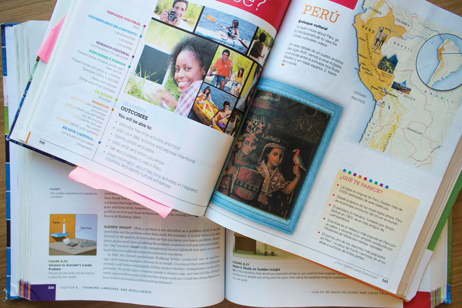 A spanish textbook. Textbooks are extremely expensive, but the publishing companies go to great lengths to keep the University's business.