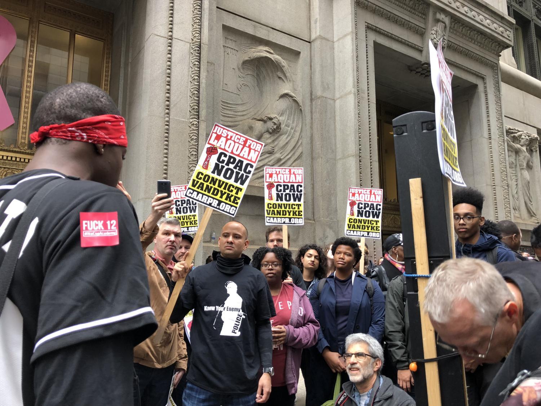 Alison Albelda  Daily Senior Staffer Activists in downtown Chicago after Jason Van Dyke was found guilty for second-degree murder