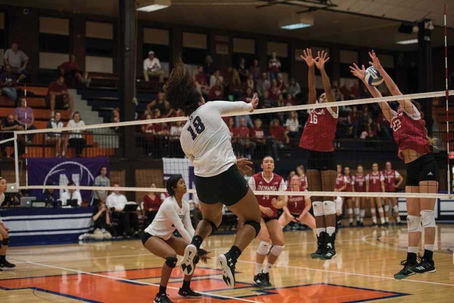 Nia+Robinson+spikes+a+kill.+The+sophomore+outside+hitter+leads+the+team+in+kills.