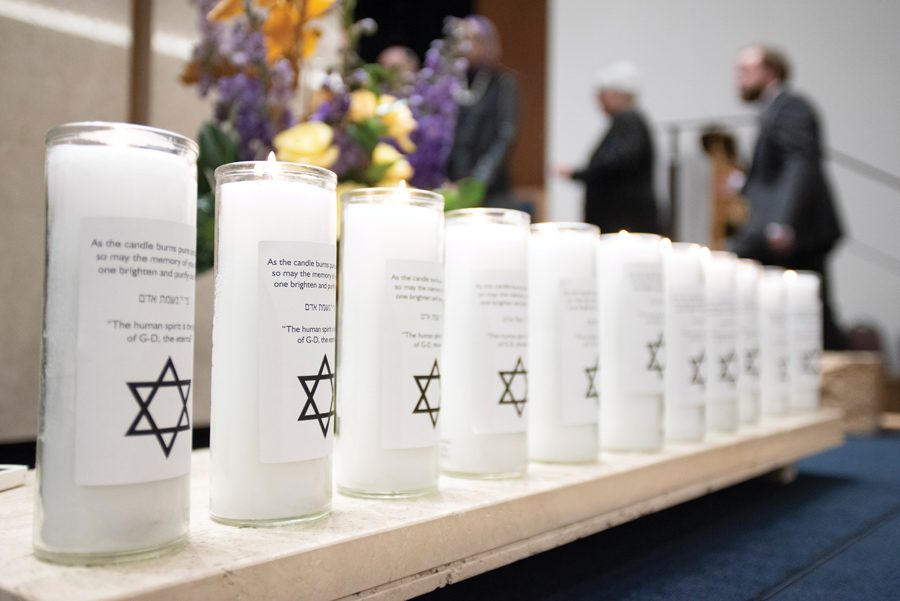 Colin+Boyle%2FDaily+Senior+Staffer%0A%0A11+candles+are+lit+in+memory+of+the+victims+of+the+mass+shooting+in+Pittsburgh.