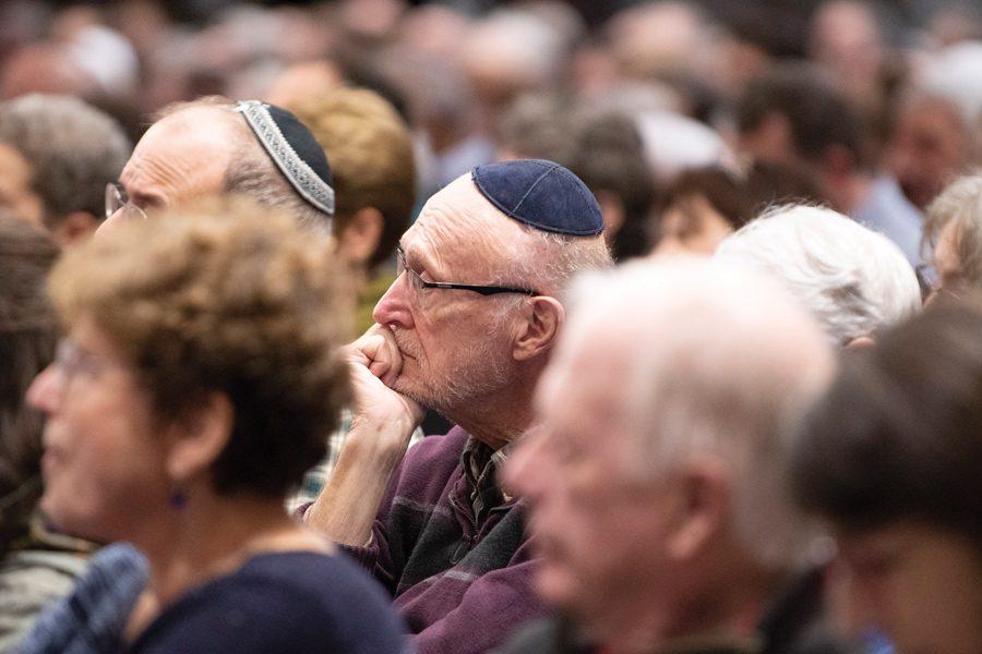 Colin+Boyle%2FDaily+Senior+Staffer%0A%0AA+man+sits+at+the+prayer+vigil+at+Beth+Emet+Synagogue.