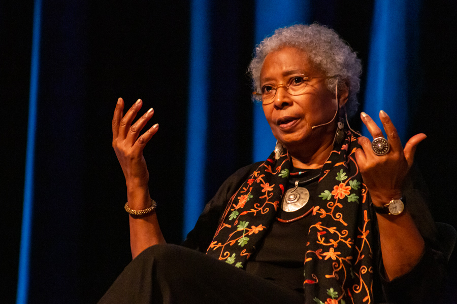 Alice Walker addresses students and Chicago locals at a Chicago Humanities Festival event. Walker said destruction is compounded by partisan noise and mass media portrayals of outspoken individuals.