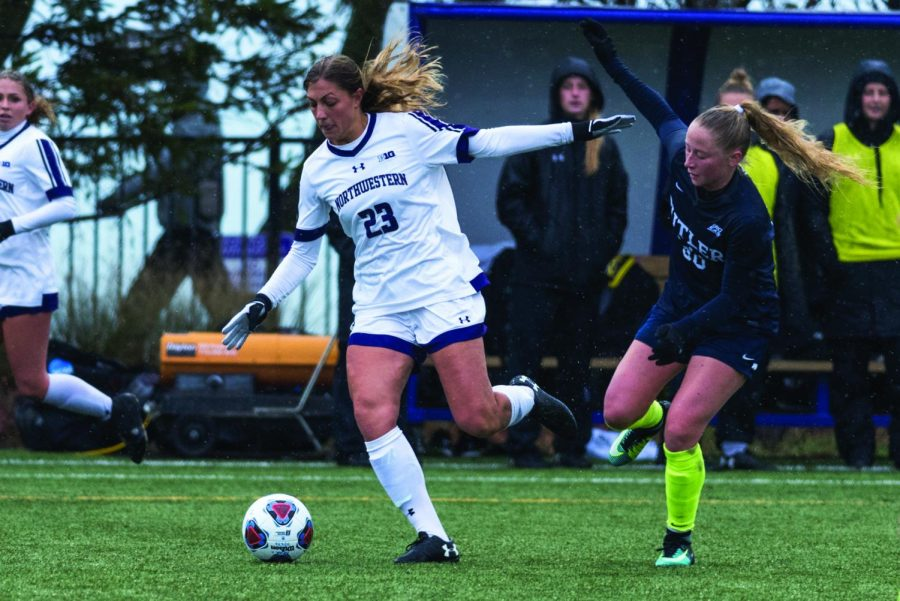 Hannah+Davison+strikes+the+ball.+The+senior+defender+is+trying+to+remain+optimistic+that+the+Wildcats+will+qualify+for+the+NCAA+Tournament.+