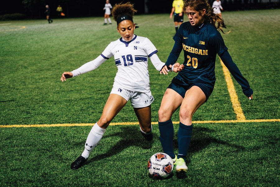 Nia Harris closes down on an opponent. The sophomore forward has one goal on the season.