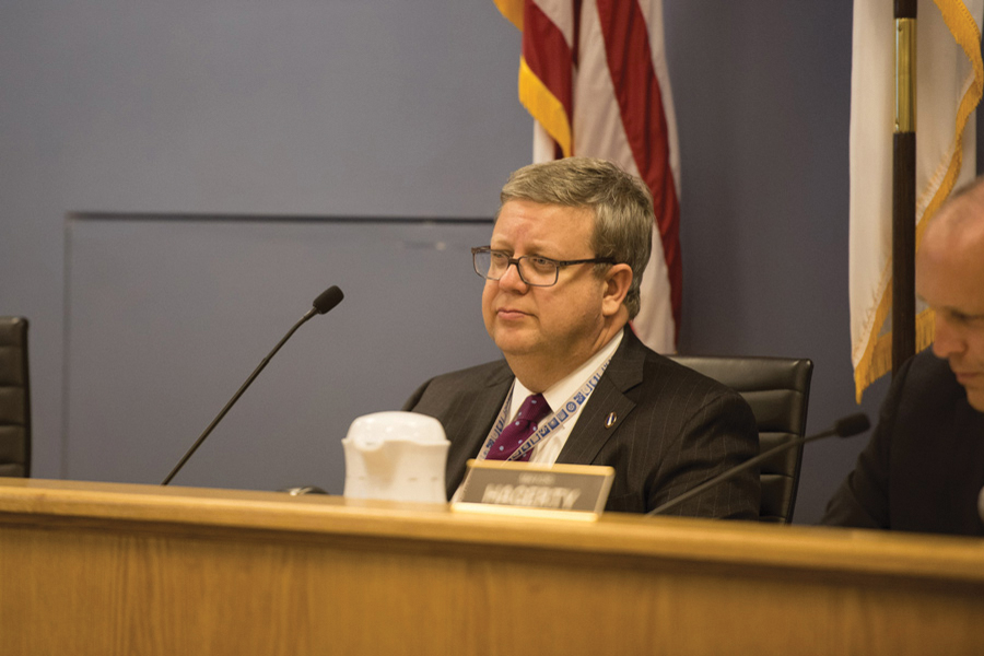 City manager Wally Bobkiewicz at a City Council meeting. Bobkiewicz said he plans to restructure staff in the Youth and Young Adults division, causing confusion amongst aldermen and residents.