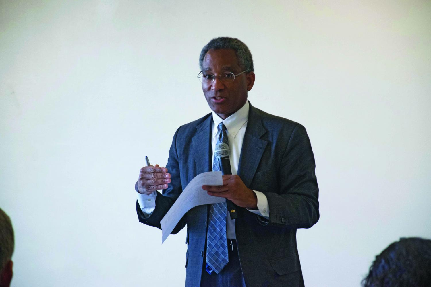 Philip Harris speaks at a 2016 event. Harris, Northwestern's vice president and general counsel, is no longer employed by the University.