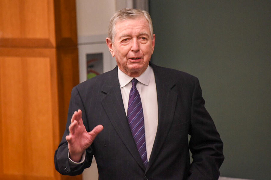 Former U.S Attorney General John Ashcroft speaks at College Republicans' event. Ashcroft spoke of the difficulty balancing liberty and security in the modern age.