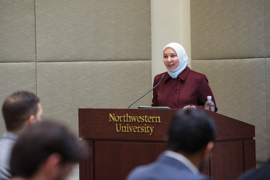 Dr. Rania Awaad gives a talk Friday at Hardin Hall. Awaad is a clinical psychiatrist at Stanford University, and during the event addressed issues of mental health in the Muslim community.