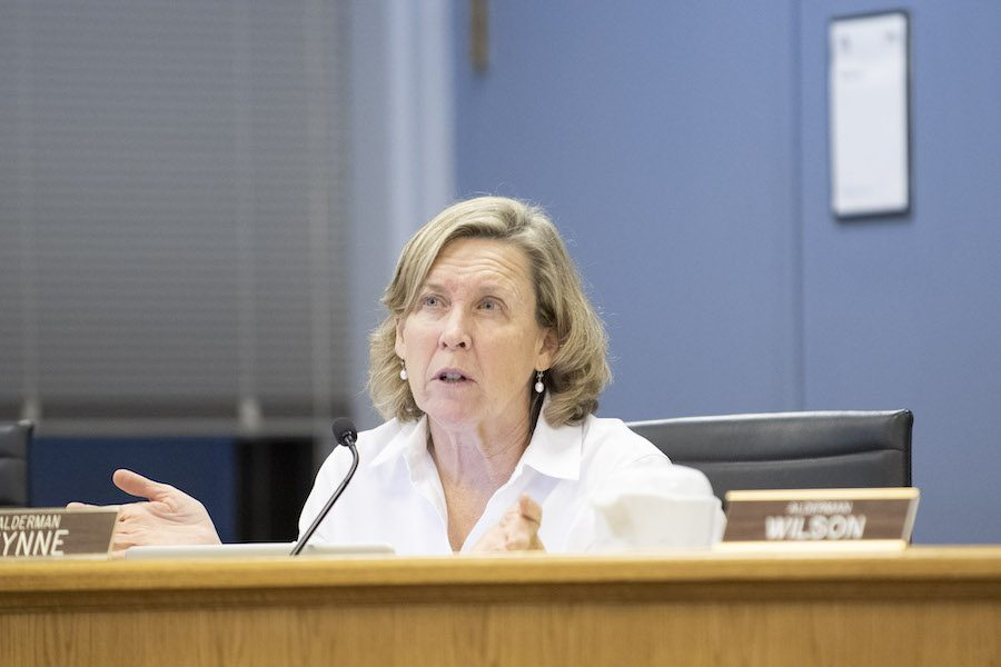 Ald. Melissa Wynne (3rd) speaks at a city meeting. Aldermen on Monday approved Evanston's operating budget for 2019.
